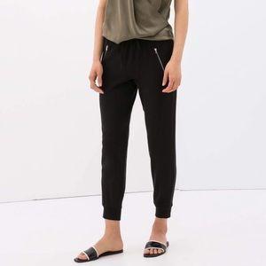 Zara Tapered Leg Relaxed Fit Pants Zipper Pockets